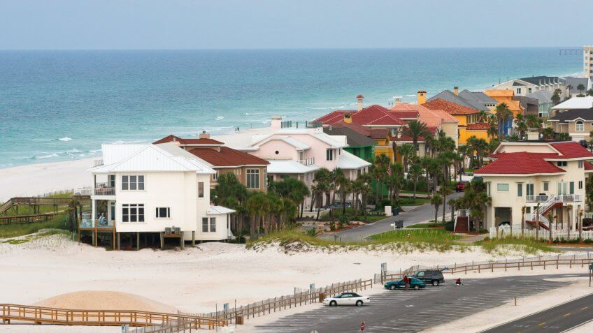 View of Pensacola Beach and Gulf of Mexico.