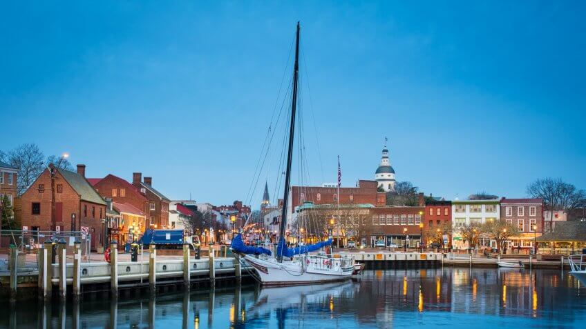 Annapolis, Maryland - State, Harbor, Color Image, Commercial Dock.