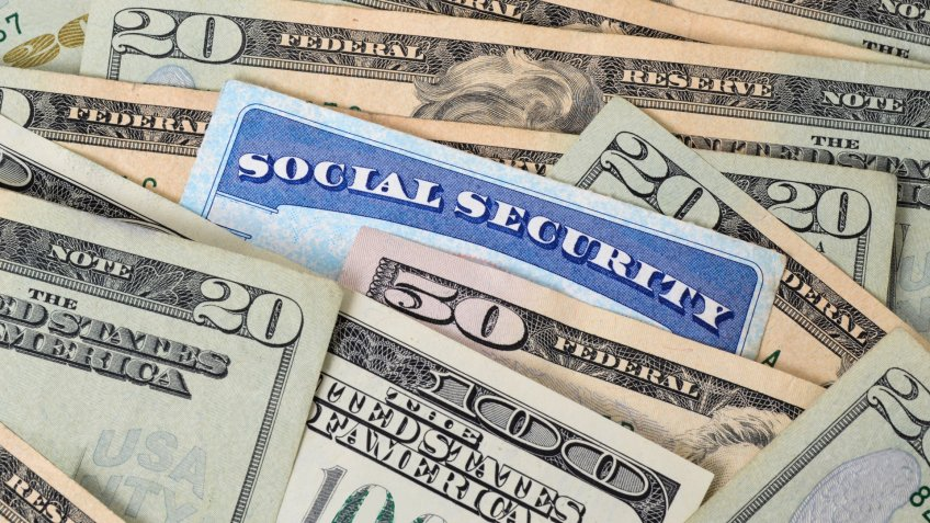 social security card and money concept.