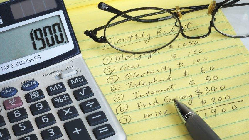 monthly budget notepad with glasses, pen and calculator on top