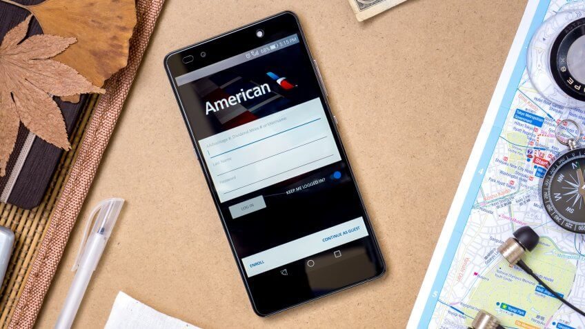 american airlines app open on a smartphone