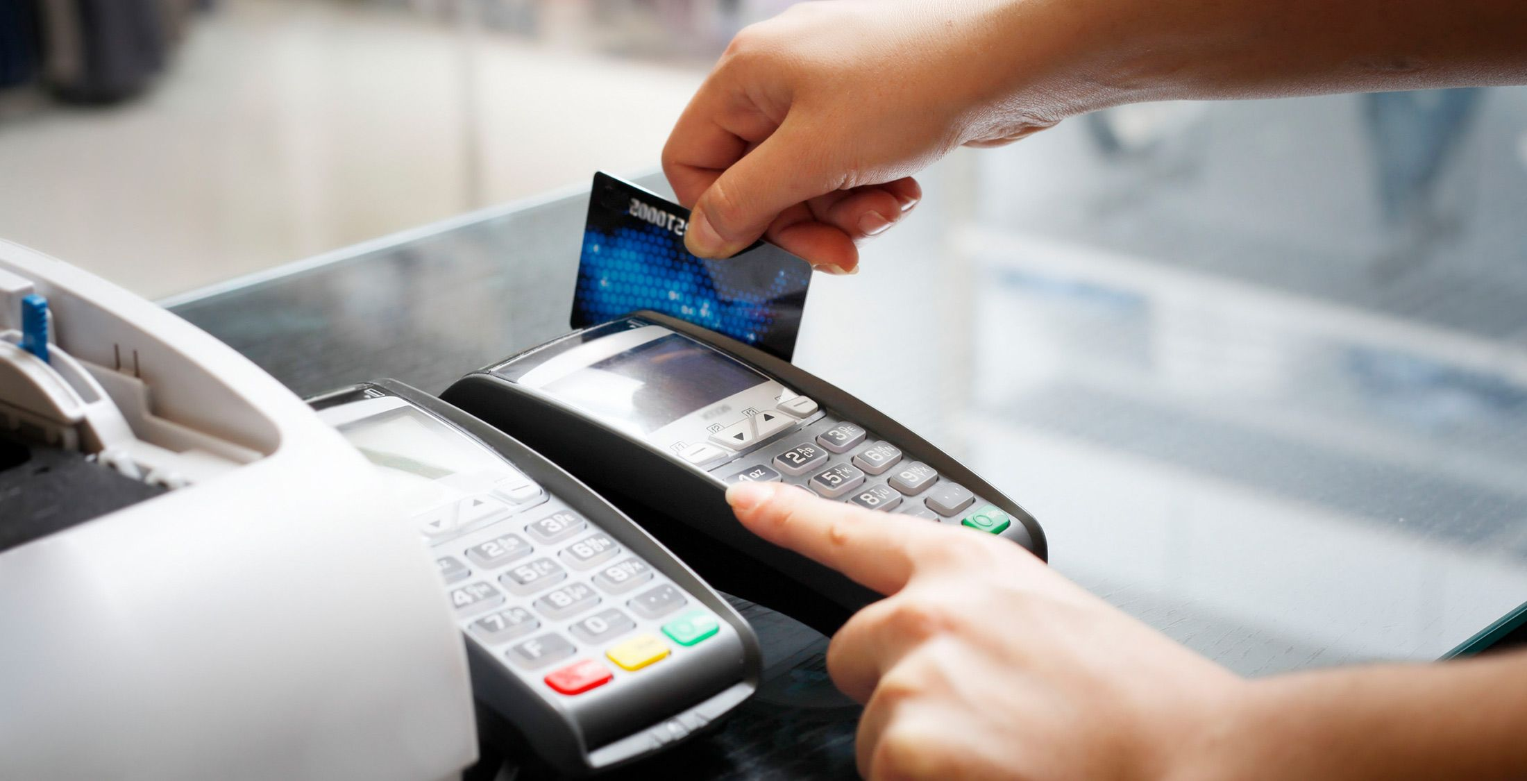 swipe credit card for payment at store