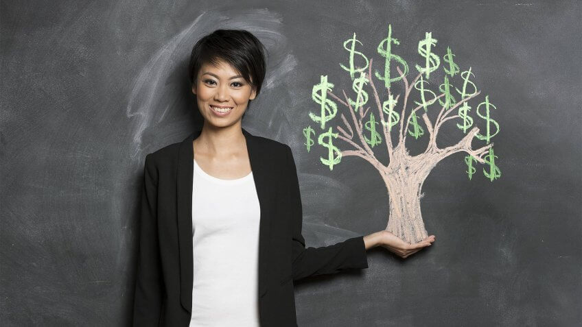 Happy Asian Business woman in front of chalk money tree drawing on blackboard.