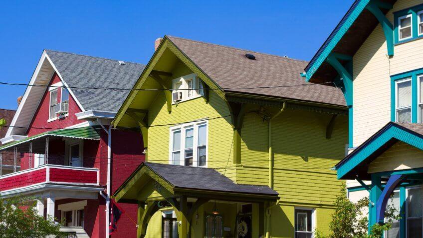 Colorful houses in Cincinnati, Ohio, USA.