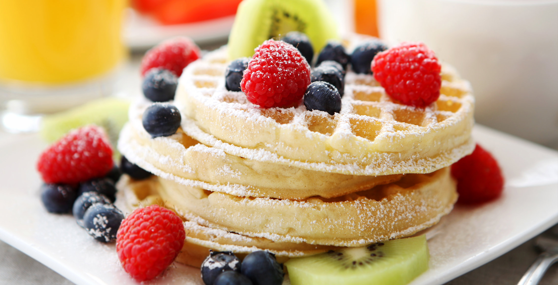 blueberry raspberry waffle stack