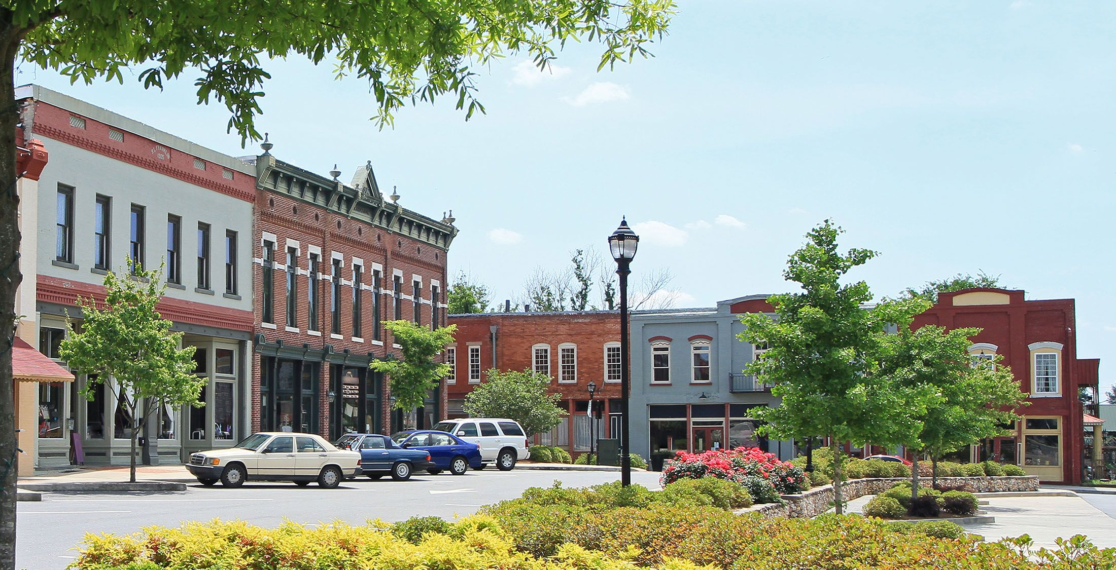 downtown area of a small town