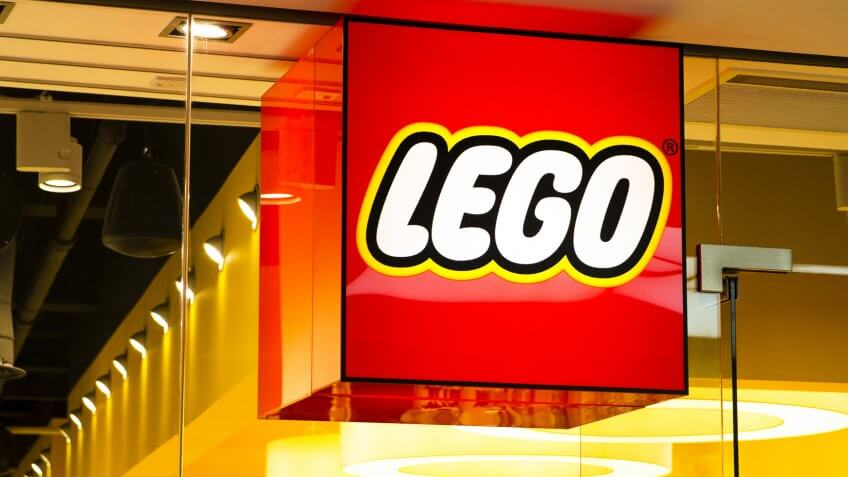 Photograph of the Lego shop window in the Trinity Shopping Centre, Leeds.