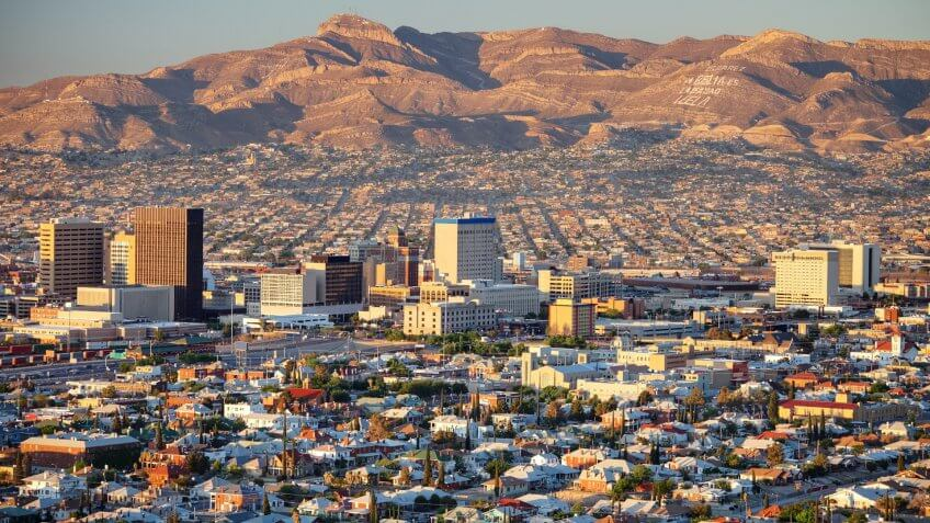 Downtown El Paso with Juarez, Mexico in the background.