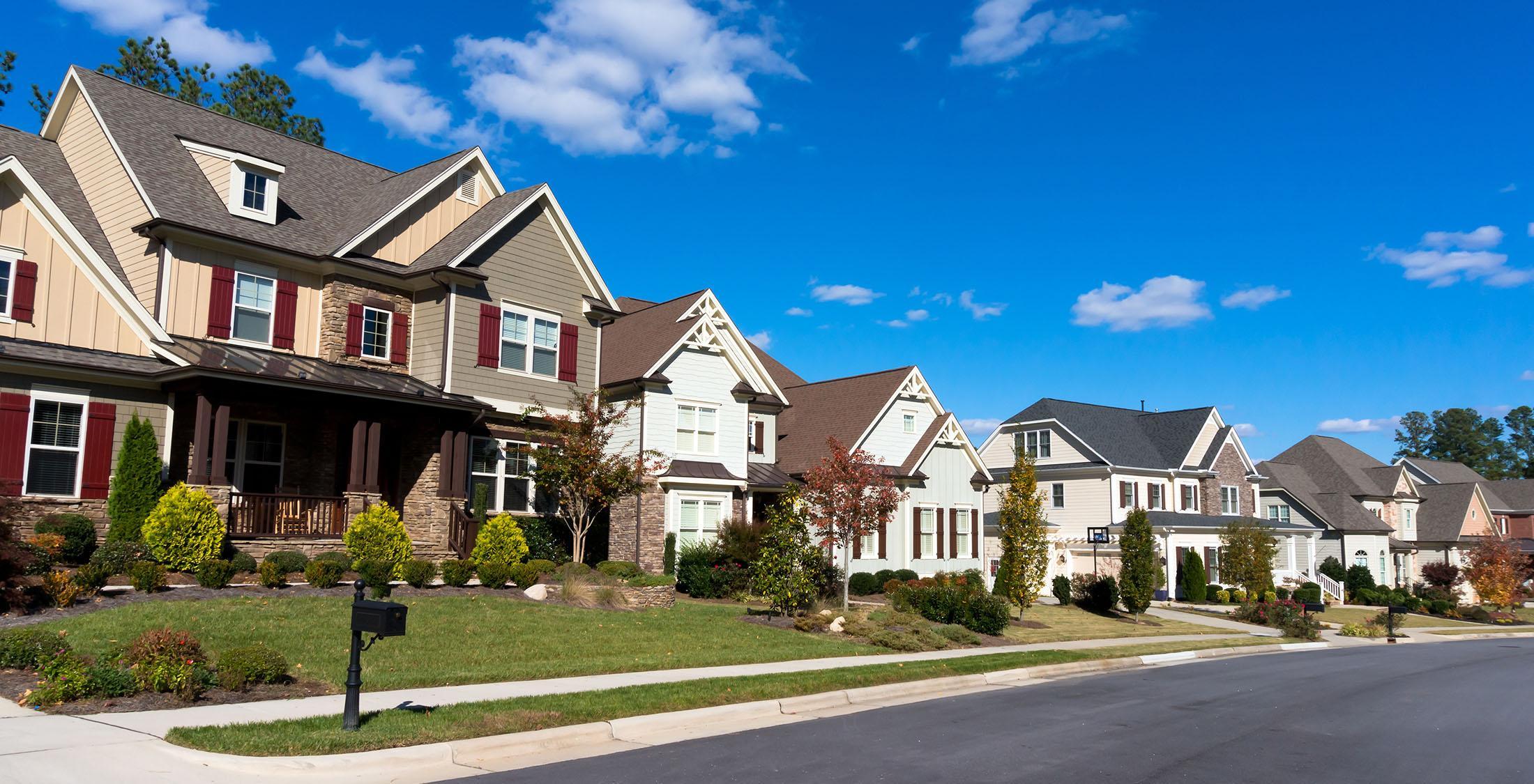 row of suburban houses