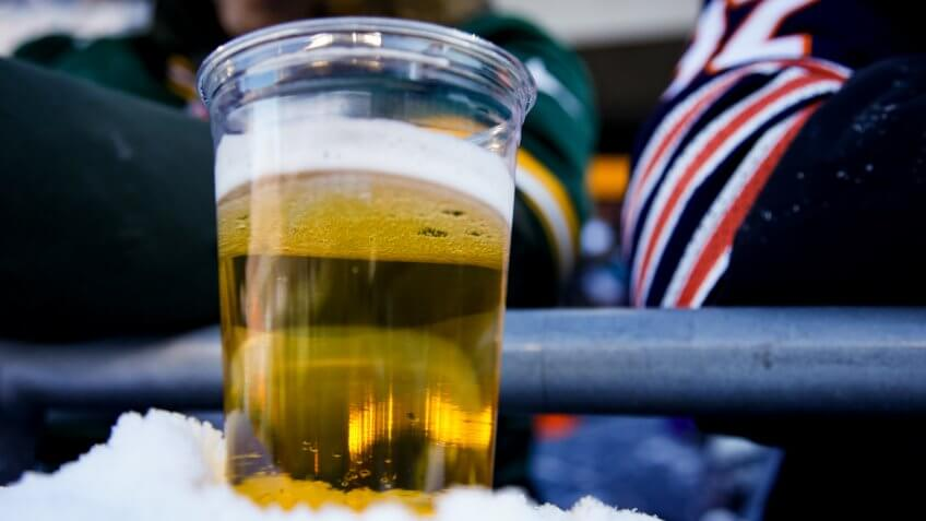 CHICAGO, IL - DECEMBER 18:  A beer sits on a snowy ledge during the game between the Chicago Bears and the Green Bay Packers at Soldier Field on December 18, 2016 in Chicago, Illinois.