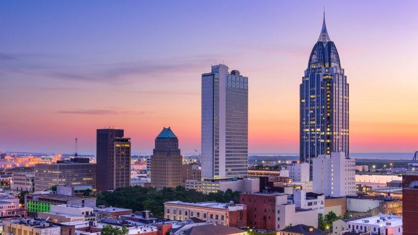 Mobile Alabama skyline at dusk