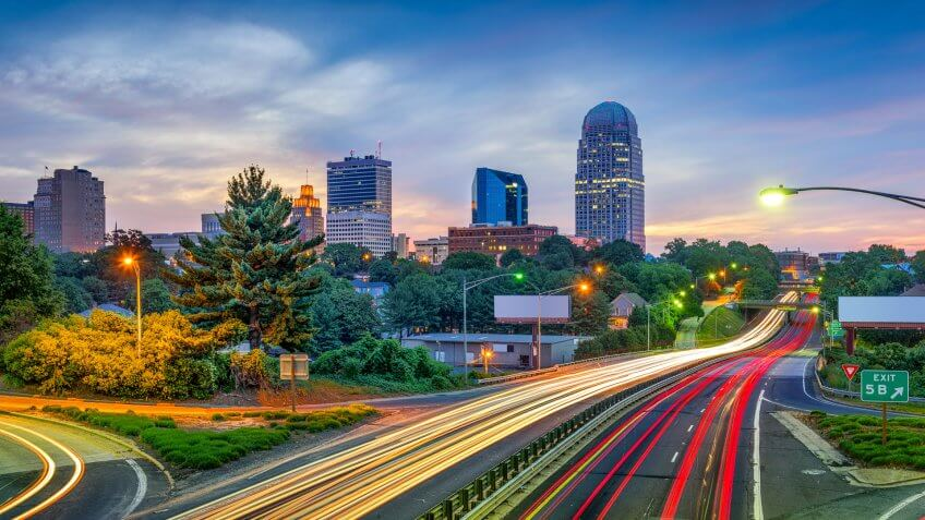 Winston-Salem North Carolina skyline at dusk
