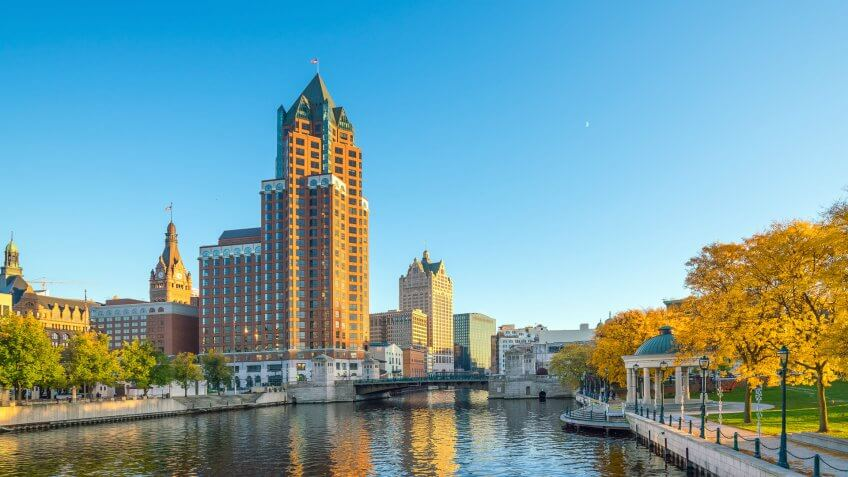 Milwaukee Wisconsin skyline at surise