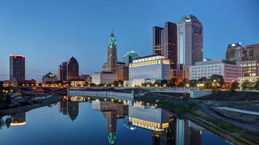 Columbus Ohio at dusk