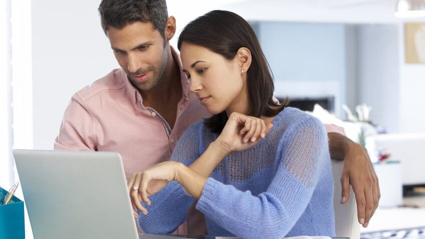 couple looking over finances together