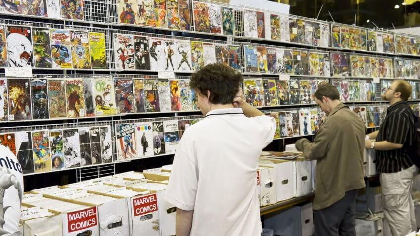 patrons browsing comic book store