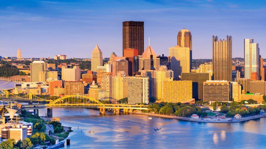 Pittsburgh Pennsylvania skyline at dusk