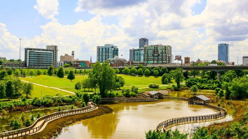 Little Rock, AR, USA - June 12, 2015: The city of Little Rock Arkansas seen from the William J.