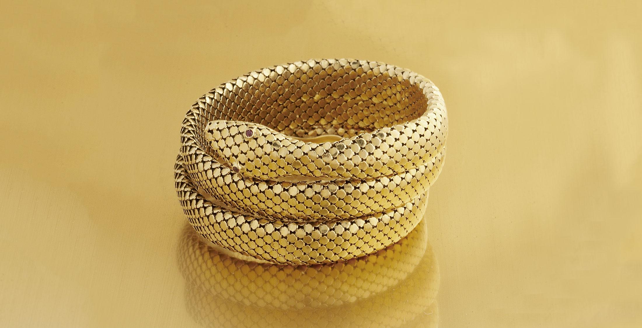 golden snake cuff bracelet
