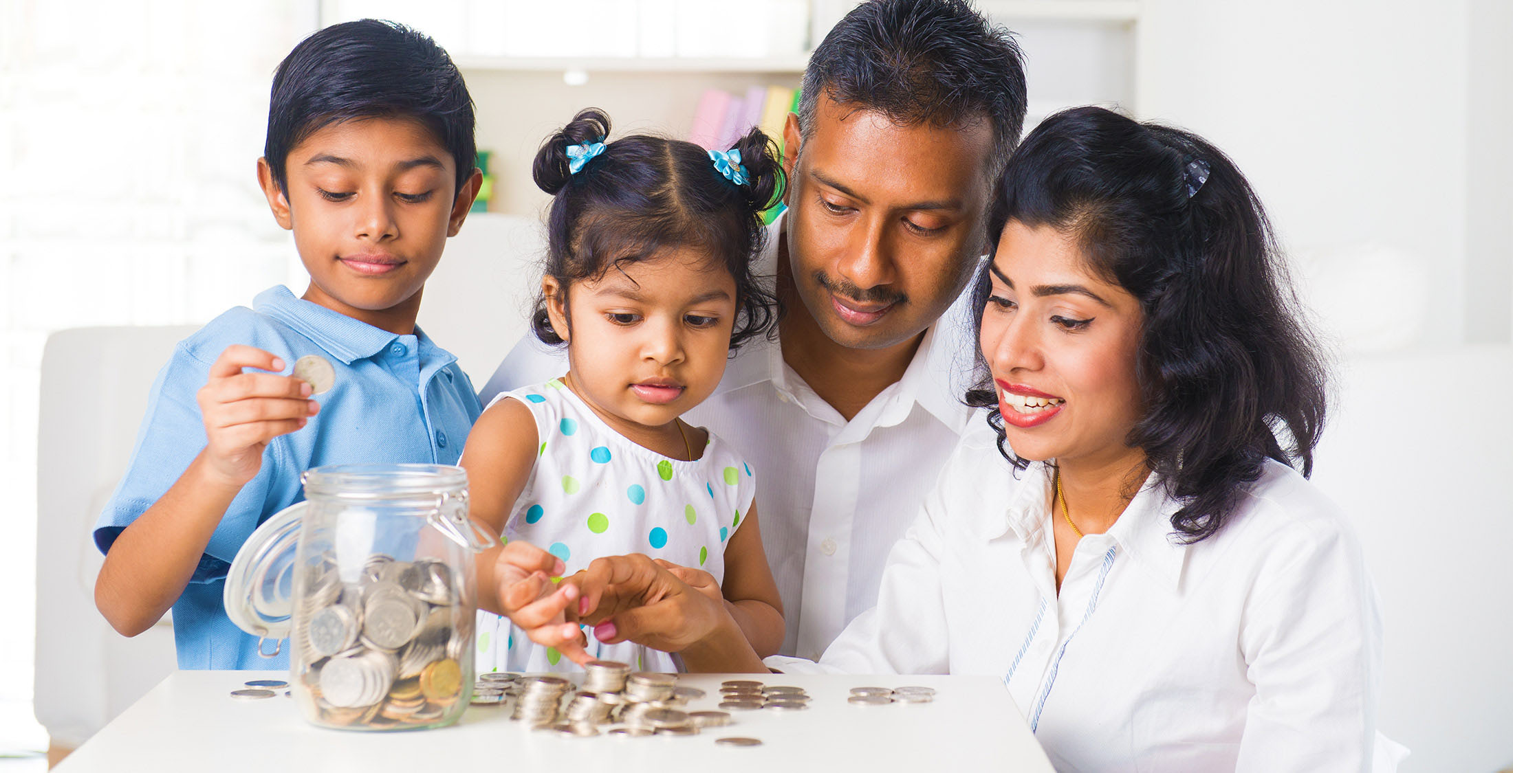 family counting spare change