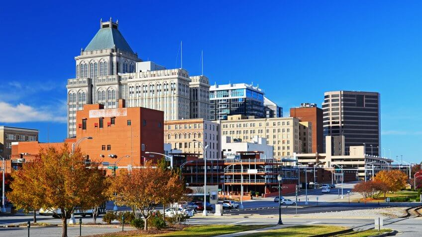 Greensboro downtown skyline at Autumn in North Carolina
