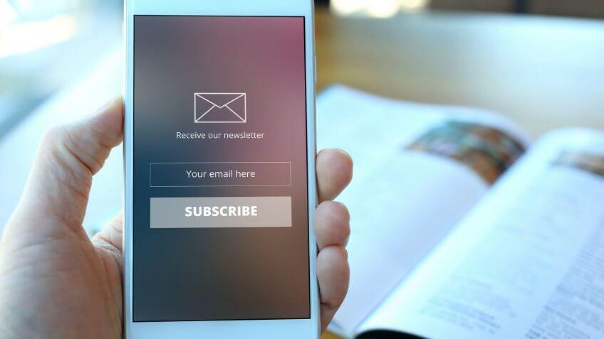 mobile email subscription sign up