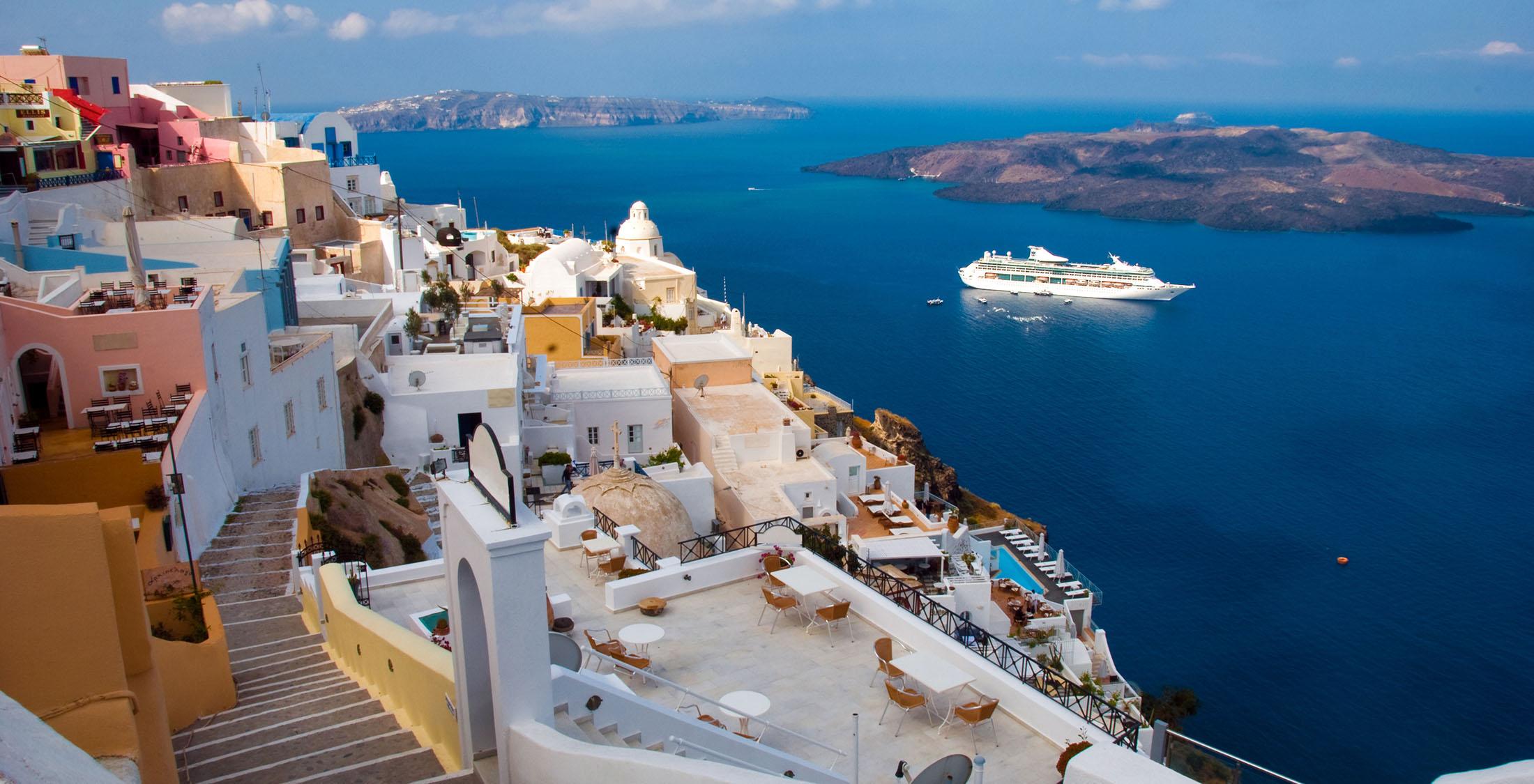 Mediterranean town overlooking the sea