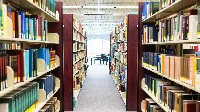 row of library shelves