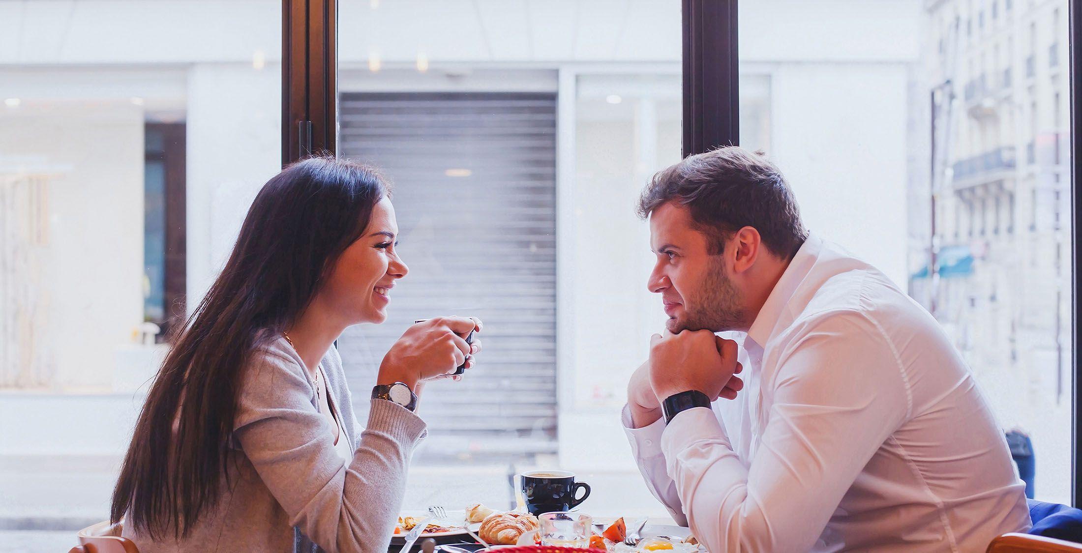 couple on romantic breakfast date