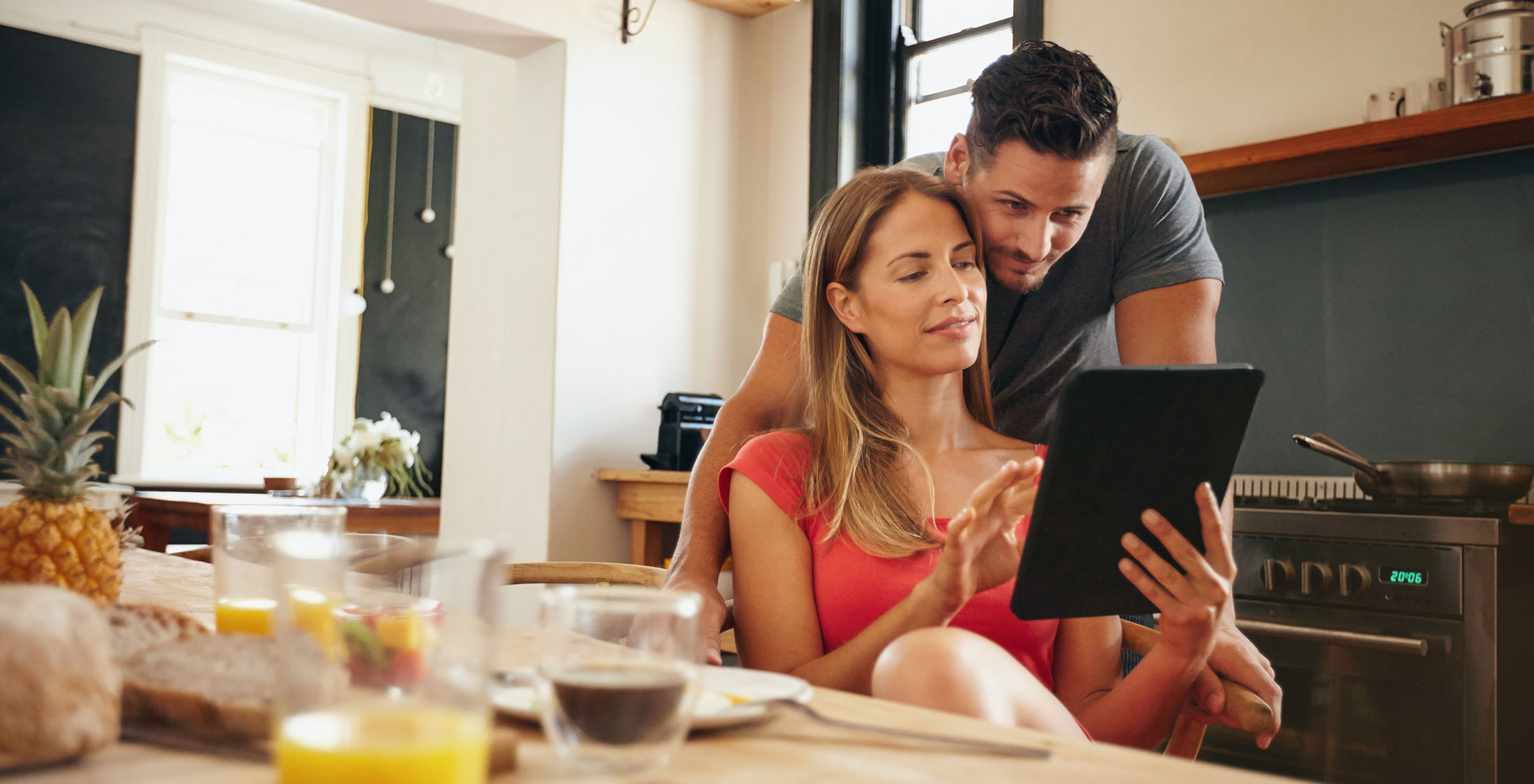 couple looking at tablet together