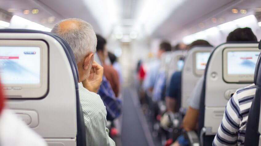 airplane full of passengers