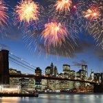 fireworks over city