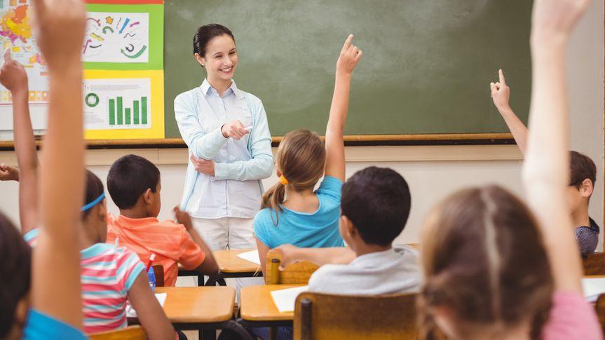 elementary school teacher in classroom