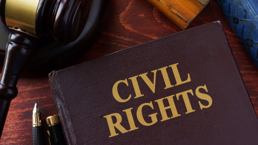 Civil Rights title on a book and gavel.