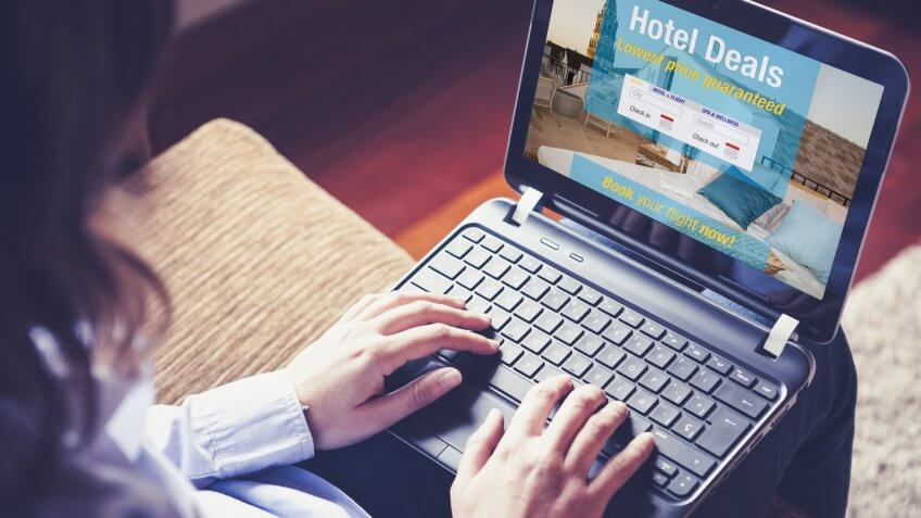 Hotel deals website in a laptop screen.