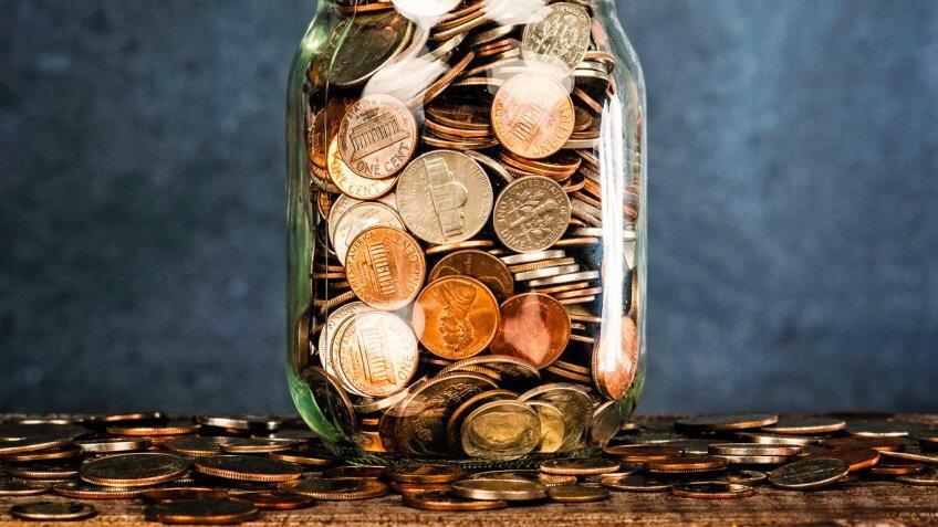 filled change coin jar