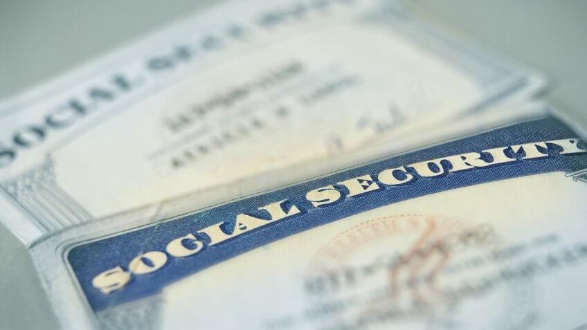 closeup of US Social Security cards.