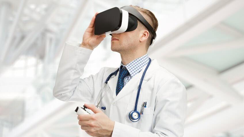 Man in lab coat wearing WorldViz headset