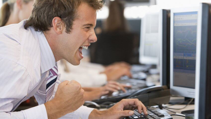 stock trader yelling at computer