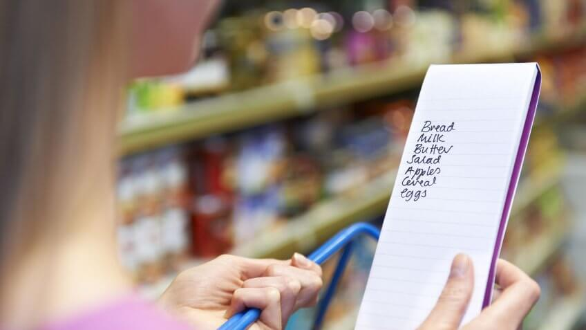 woman with grocery list