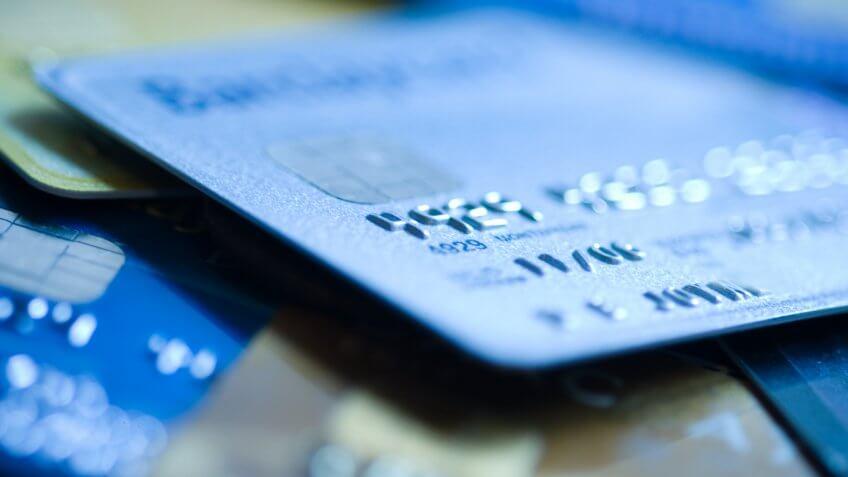 """Pile of credit cards, narrow focus."