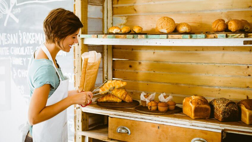 Woman in a bread store