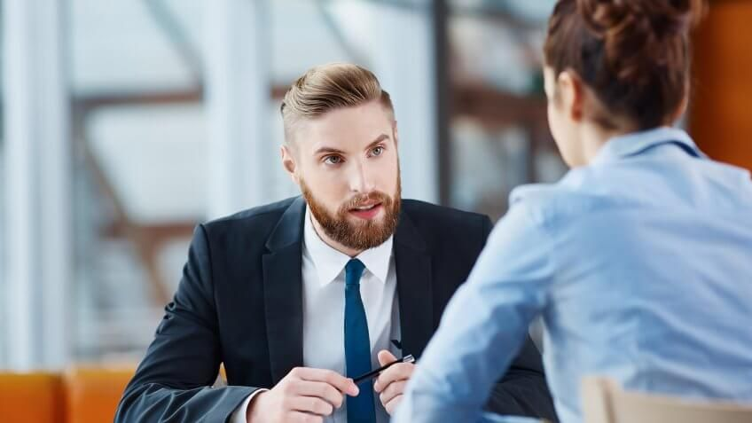 man and woman possibly having a job interview