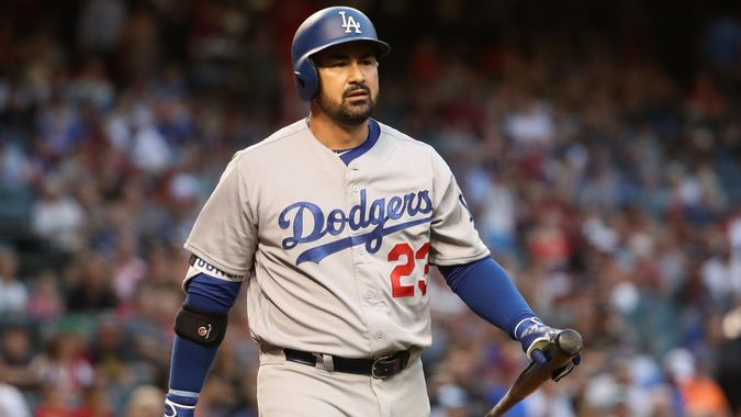 PHOENIX, AZ - APRIL 21:  Adrian Gonzalez #23 of the Los Angeles Dodgers reacts to a strike out against the Arizona Diamondbacks during the MLB game at Chase Field on April 21, 2017 in Phoenix, Arizona.