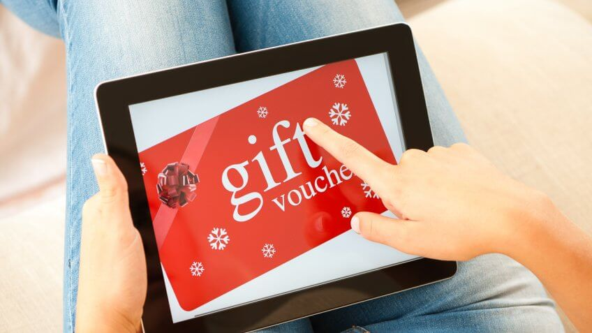gift voucher graphic on tablet