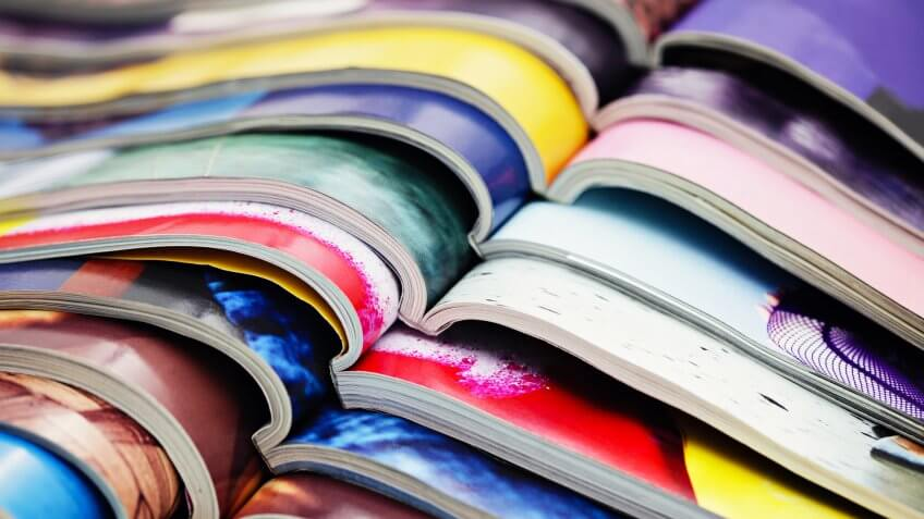 stack of magazines - information.