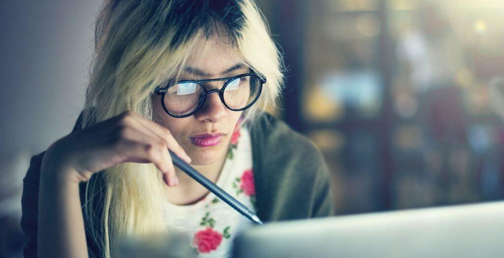 woman on computer late night