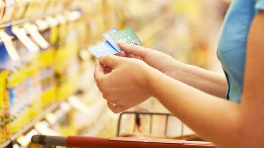 Use coupons in a grocery store