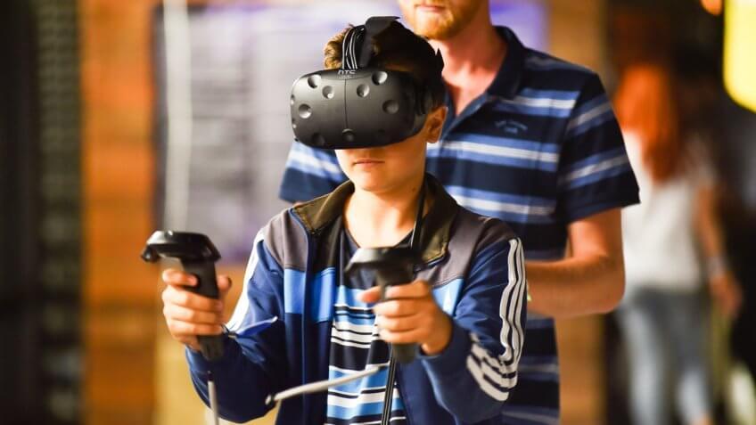Boy using HTC Vive
