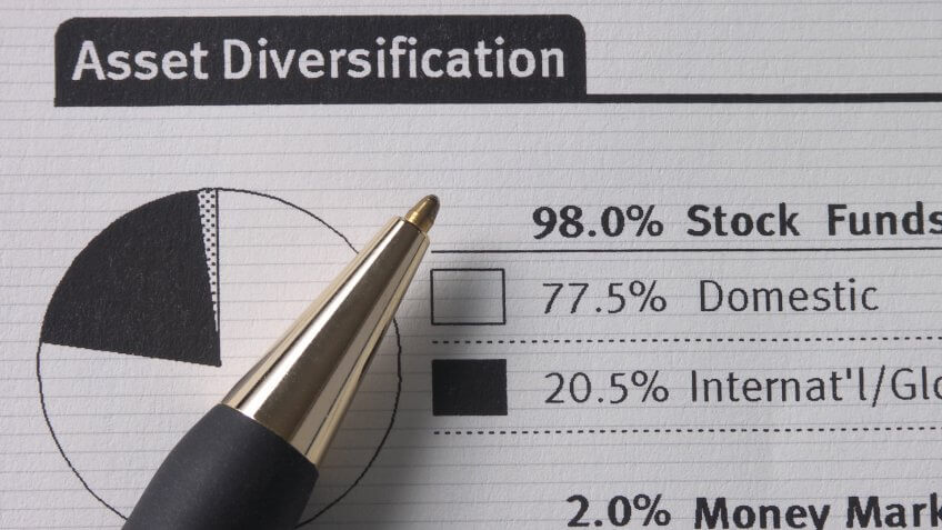 asset statement showing diversification and pie chart with pen.